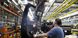 Employees works at Ford Motor Plant